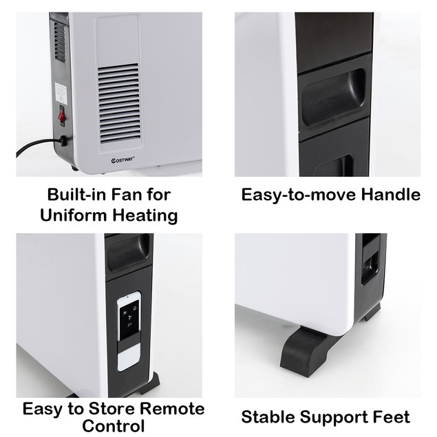 Costway 1500W Convector Heater Remote Control Wall Mounting