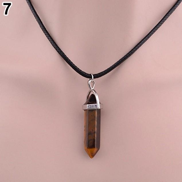 Faux Gemstone Rock Natural Quartz Necklace