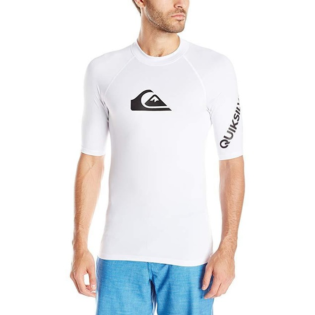 Quiksilver Men's All Time Ss Short Sleeve Surf Tee Rashguard,White,XS