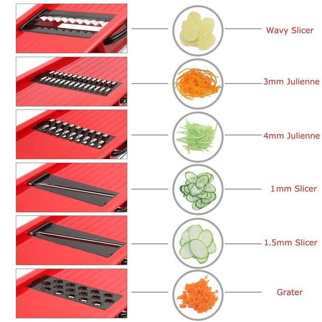 Vegetable Slicer Cutter Chopper Grater Julienne Kitchen Slicer Set (Red)