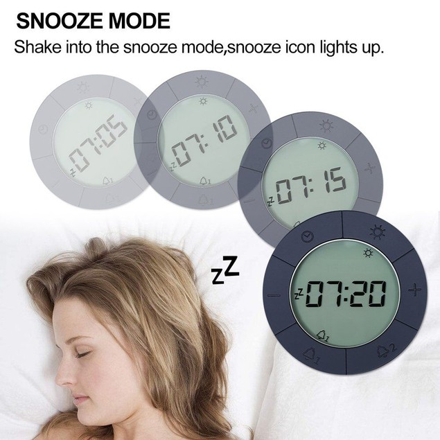 Digital Alarm Clock for Bedrooms, Travel, Kitchen, Desk, Office, Grey