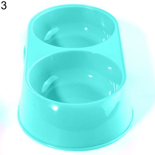 Pet Dog Cat Food Water Dish No Slip Feeder Double Dispenser Bowl
