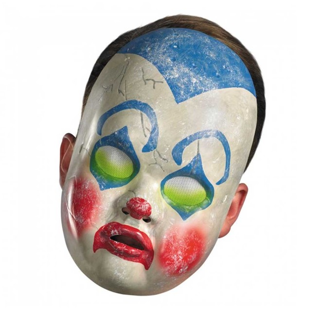 Clown Doll Mask Baby Scary Evil Possessed Vinyl Costume Halloween Adult