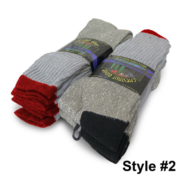 6-Pairs Men's Thick Warm Boot Socks for Work and Hiking Heavy Duty