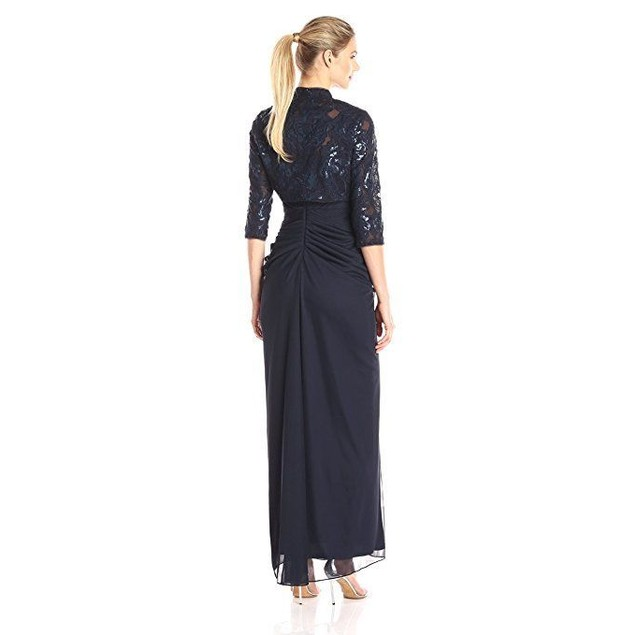 Adrianna Papell Women's Embroidered Sequin Floral Bodice Dress SZ 12