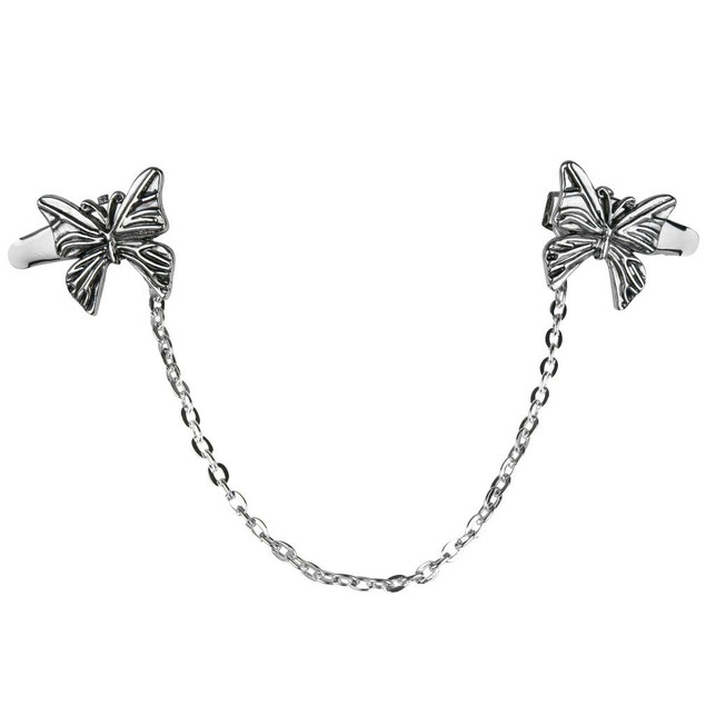 Butterfly Sweater Collar Clip-Silver Tone Chain-Shawl-Blouse-Dress-Vest