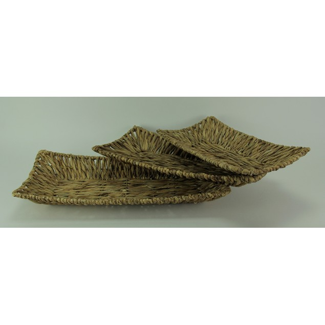 Set Of Three Woven Water Hyacinth Decorative Trays Decorative Trays