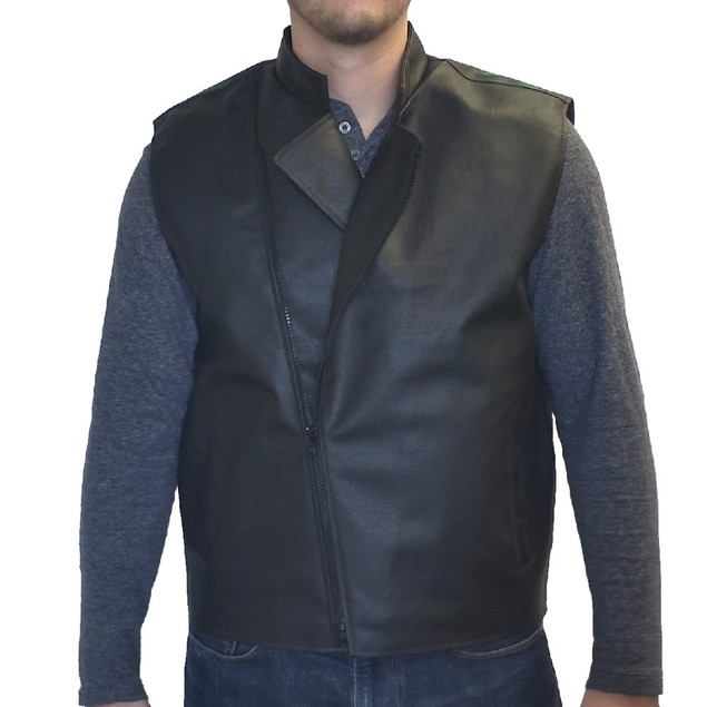Rick Vaughn Black Faux Leather Vest