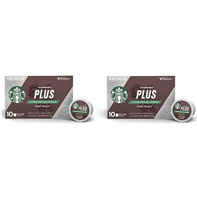 Starbucks Plus Coffee with 2X Caffeine Dark Roast K Cups 2 Box Pack