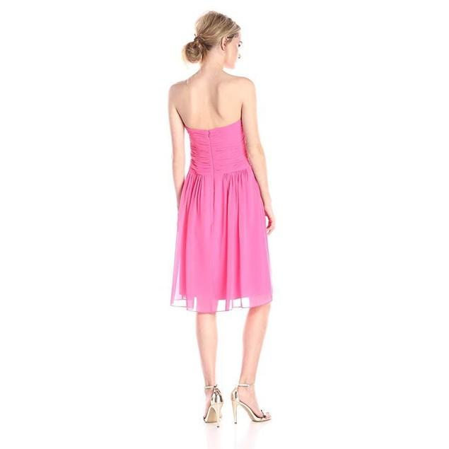 Donna Morgan Women's Anne Short Strapless Chiffon Dress, Strawberry, 8