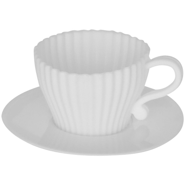 Silicone Baking Teacups With Saucers-Cupcake Mold Set/8
