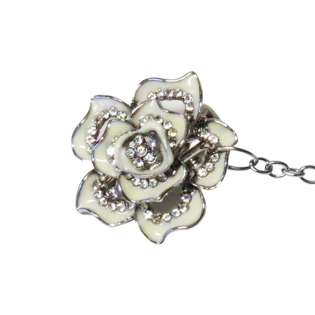 Sweater Collar Clip-Silver toned Flower-Cardigan-Shawl-Dress,Blouse-Vest