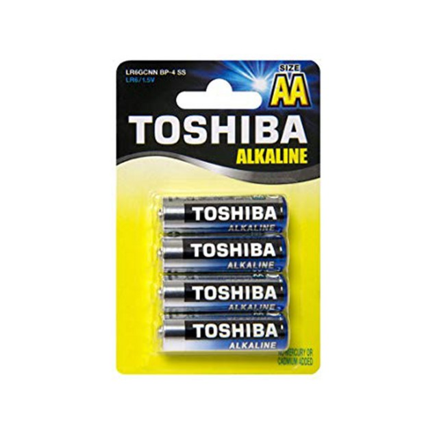 Toshiba AA Blue Line Alkaline Batteries (4 Boxes = 192 Batteries)