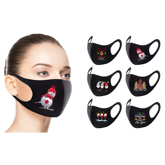 Reusable Holiday-Themed Face Masks (6-Pack)