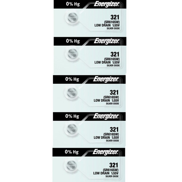 Energizer 321 (SR16616SW) Silver Oxide Watch Batteries (5 Pack)
