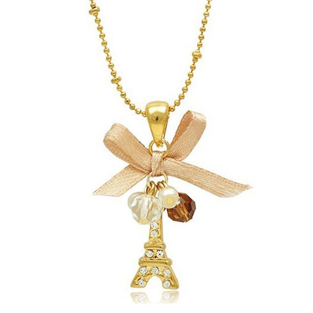 Women Golden Tone Eiffel Tower Pendant Necklace