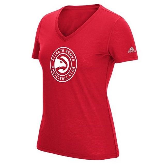 Atlanta Hawks NBA adidas Women's V-Neck Logo Tee