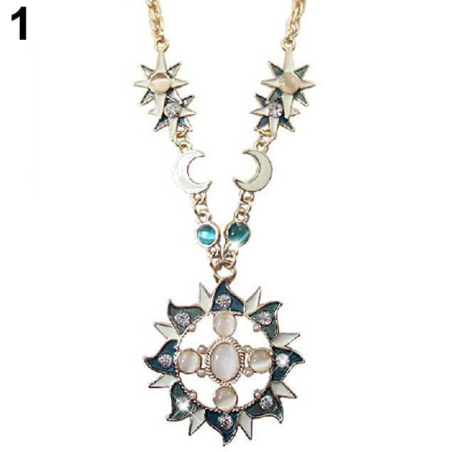 Women Mystic Rhinestone Sun Moon Pendant Necklace