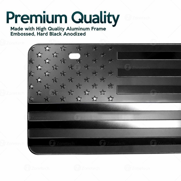 Zone Tech Monochrome USA Flag License Plate Cover EmbossedSteel