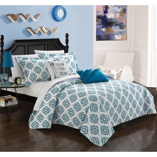 4 or 5 Piece Nenita Striped Ikat Print Reversible Quilt Cover Set