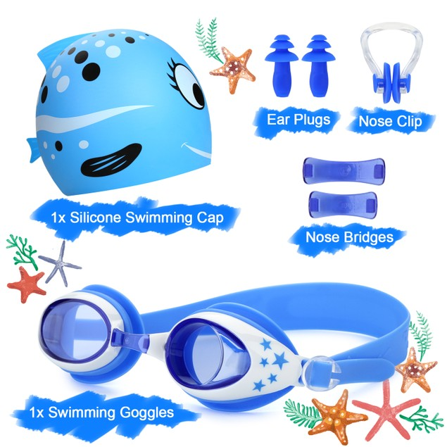 5-In-1 Swimming Goggles Set for Kids– Anti Fog UV Protection