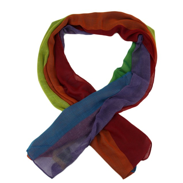 Colorful Rainbow Stripe Lightweight Long Shawl Womens Fashion Scarves