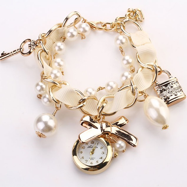 Women Artificial Pearl Bowknot Bracelet Quartz Wristwatches Watches