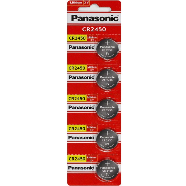 Panasonic CR2450 3-Volt Lithium Coin Cell Batteries (5 Batteries)