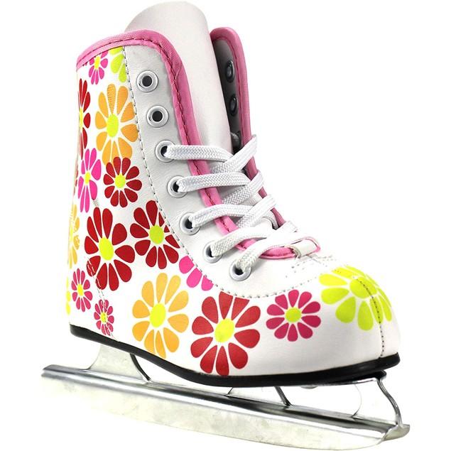 American Athletic Shoe Girl's Little Rocket Double Runner Ice Skate, White