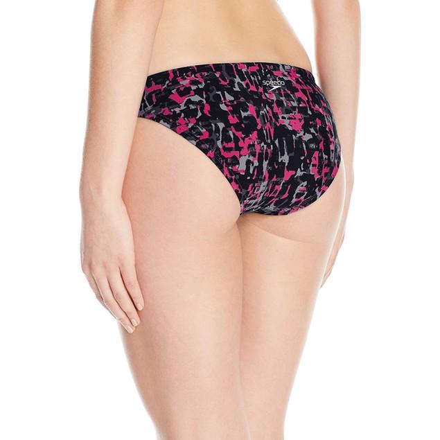 Speedo Women's Endurance Lite Print Bikini Bottom, Power Pink, Size 6