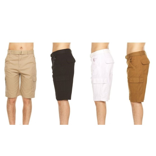 2-Pack Men's Cotton Twill Belted Cargo Shorts