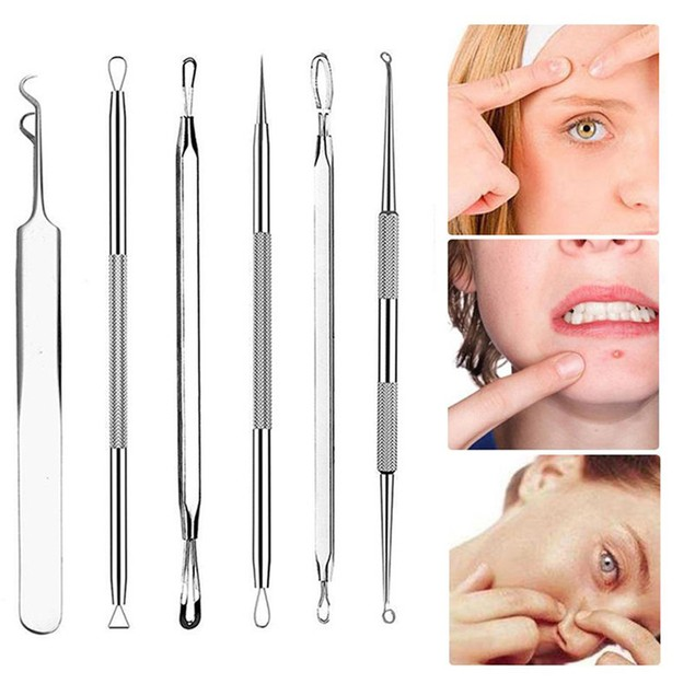 6Pcs Stainless Facial Acne Spot Pimple Remover Extractor Tool Comedone