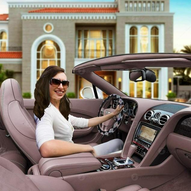 Zone Tech Diamond Bling Velvet Steering Wheel Cover with PU Leather Backing