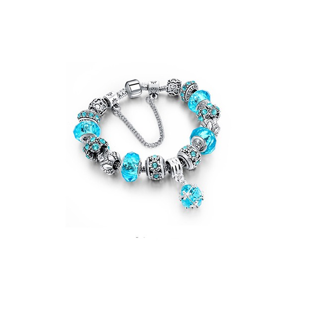 Light Blue Crystal Bracelet With Austrian Crystal And Ball Charm