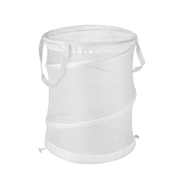 Pop Open Laundry Basket Storage Clothes Medium Mesh White