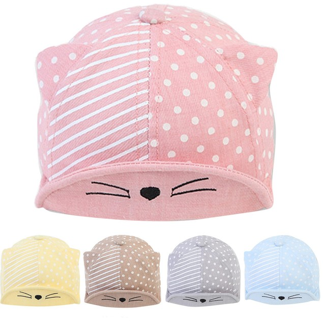 eb0d4fc4010 Child Kid Baby Cats Striped Soft Brim Flanging Sun Hat Baseball Peaked Cap  ...