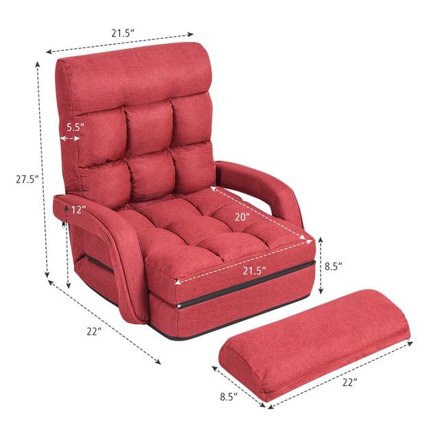 Costway Folding Floor Single Sofa Massage Recliner Chair W/ a Pillow 5 Adju