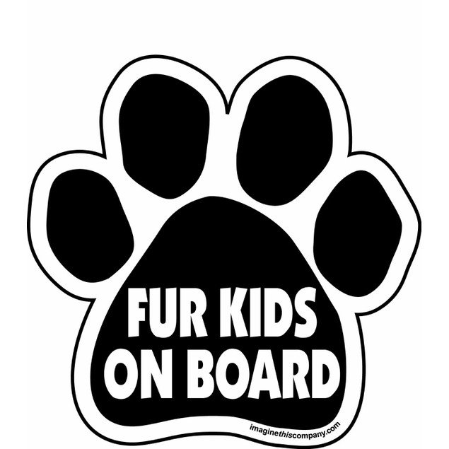 "Fur Kids on Board Paw Magnet Dog Cat 5.5"" x 5.5"" Shaped Black Car Auto Gift"
