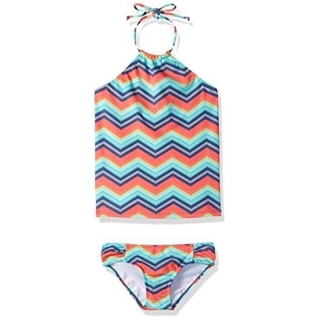 Billabong Big Girls' Ziggyland Tankini Two Piece Swimsuit, Multi SIZE