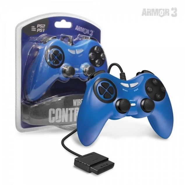PS2 Wired Game Controller (Blue) - Armor3