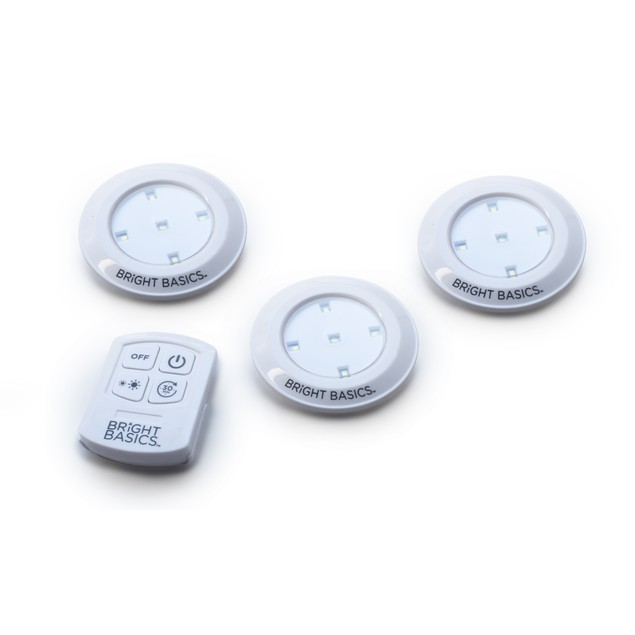 Bright Basics Wireless LED Puck Lights w/ Remote Control (3-PACK)