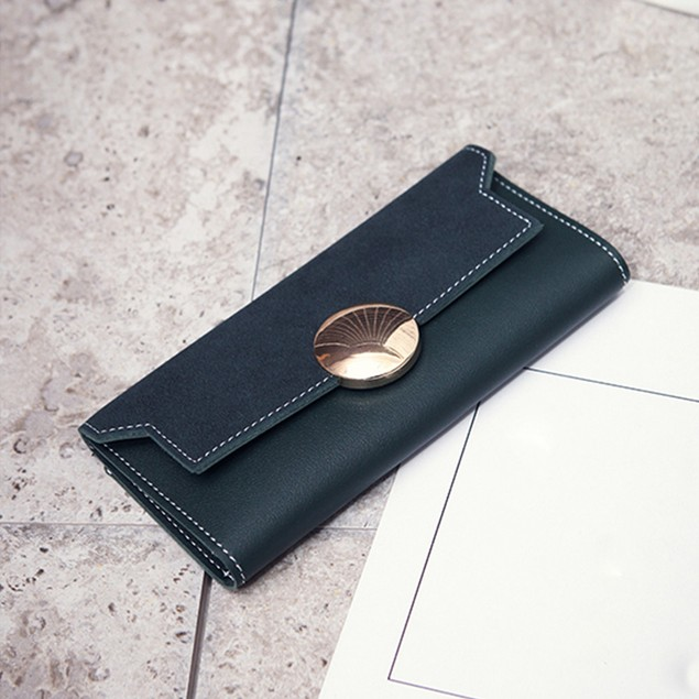 Women's Patchwork Round Hasp Long Wallet Card Holder Billfold Purse