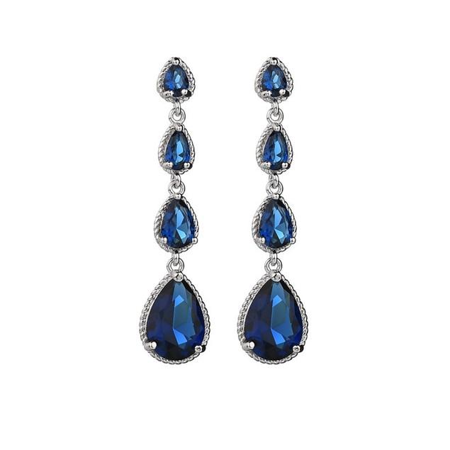 Blue zircon teardrop earrings