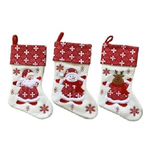 "3 Pack Christmas Stocking Set 15"" White Santa Snowman Reindeer Stocking Set"