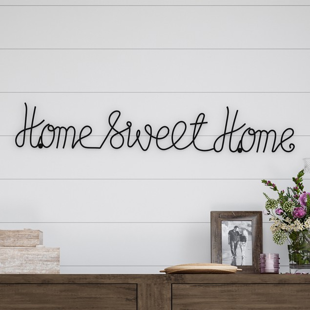 """Home Sweet Home"" Cursive Rustic Metal 3D Wall Art"