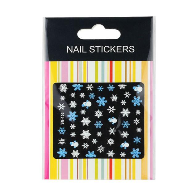 Xmas 3D Nail Art Stickers Decals Decorations Snowflake Snowman Design