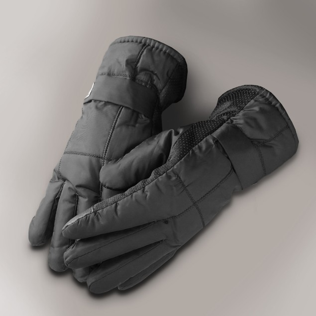 Men's Winter Windproof Fleeced Lined Outdoor Snow Ski Black Gloves