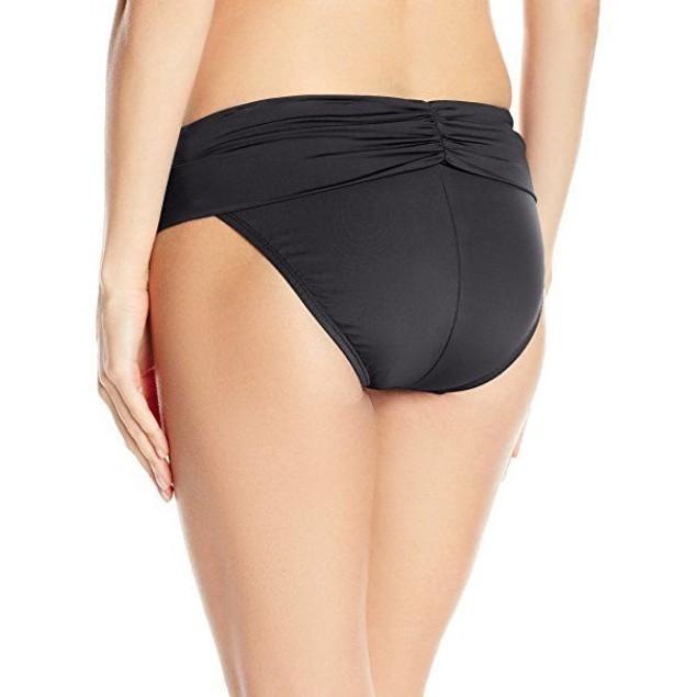 Jantzen Women's Solid Shirred Fold-Over Waist Full Coverage Bottom SIZ