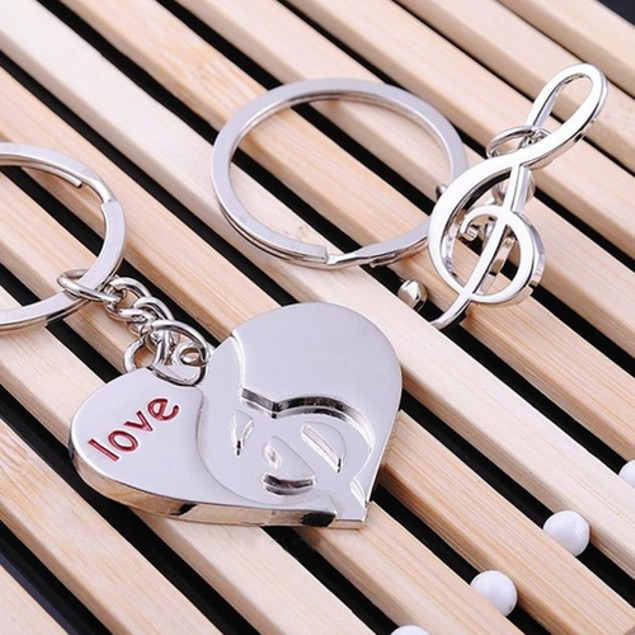 Heart Notes Couples Key Chain Keyring Keychain Lover