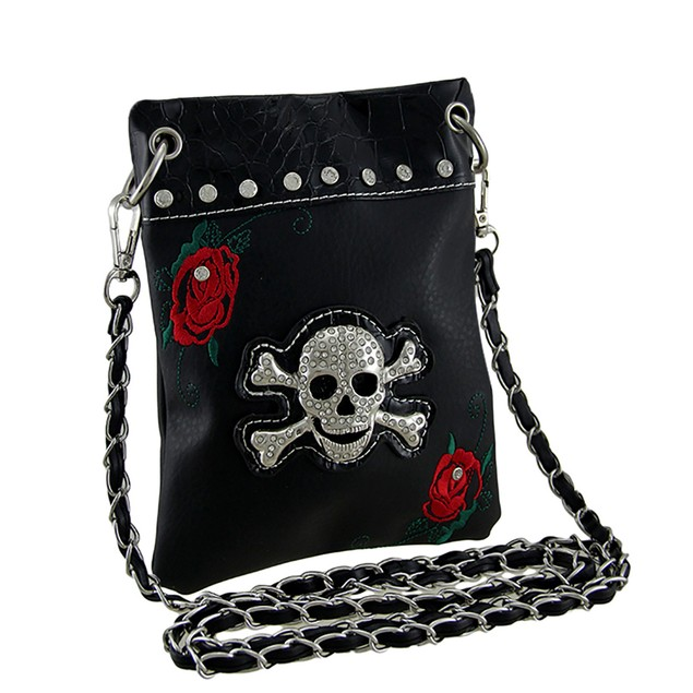 Rhinestone Skull And Embroidered Red Roses Womens Cross Body Bags
